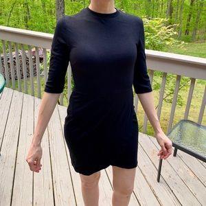 3/4 Sleeve Black Mini Dress
